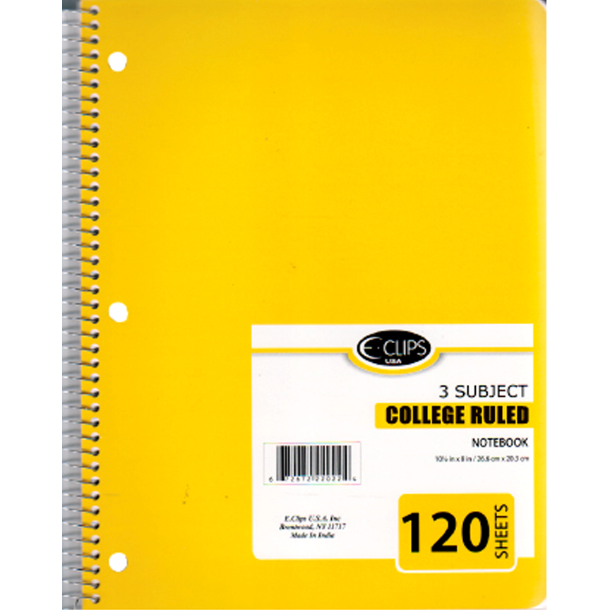 22033 , 3 Subject Spiral Notebook College Ruled 120 sheets