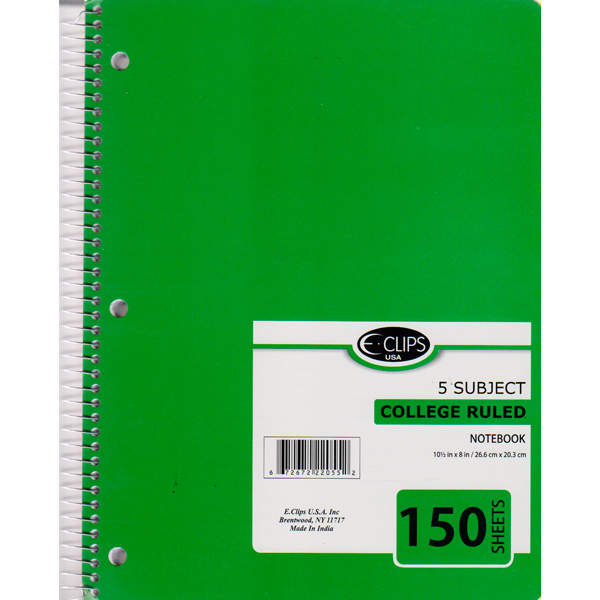 22033 3 Subject Spiral Notebook College Ruled 120 sheets – E